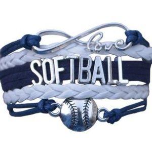 Girls Softball Bracelet - Navy & White